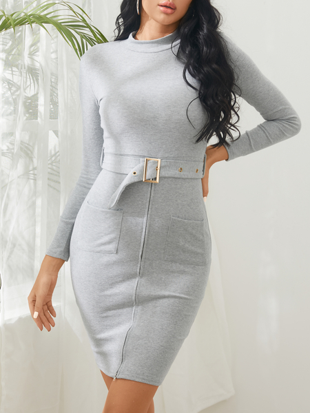 Yoins Grey Zipper Front Two Pockets Bodycon Dress with Belt