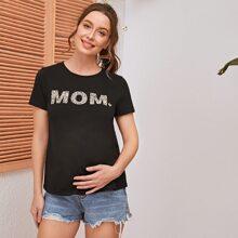 Maternity T-Shirt mit Leopard Muster und Buchstaben Grafik
