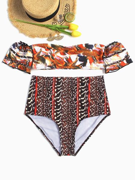 Yoins Random Floral Printed Off The Shoulder Bikini Set