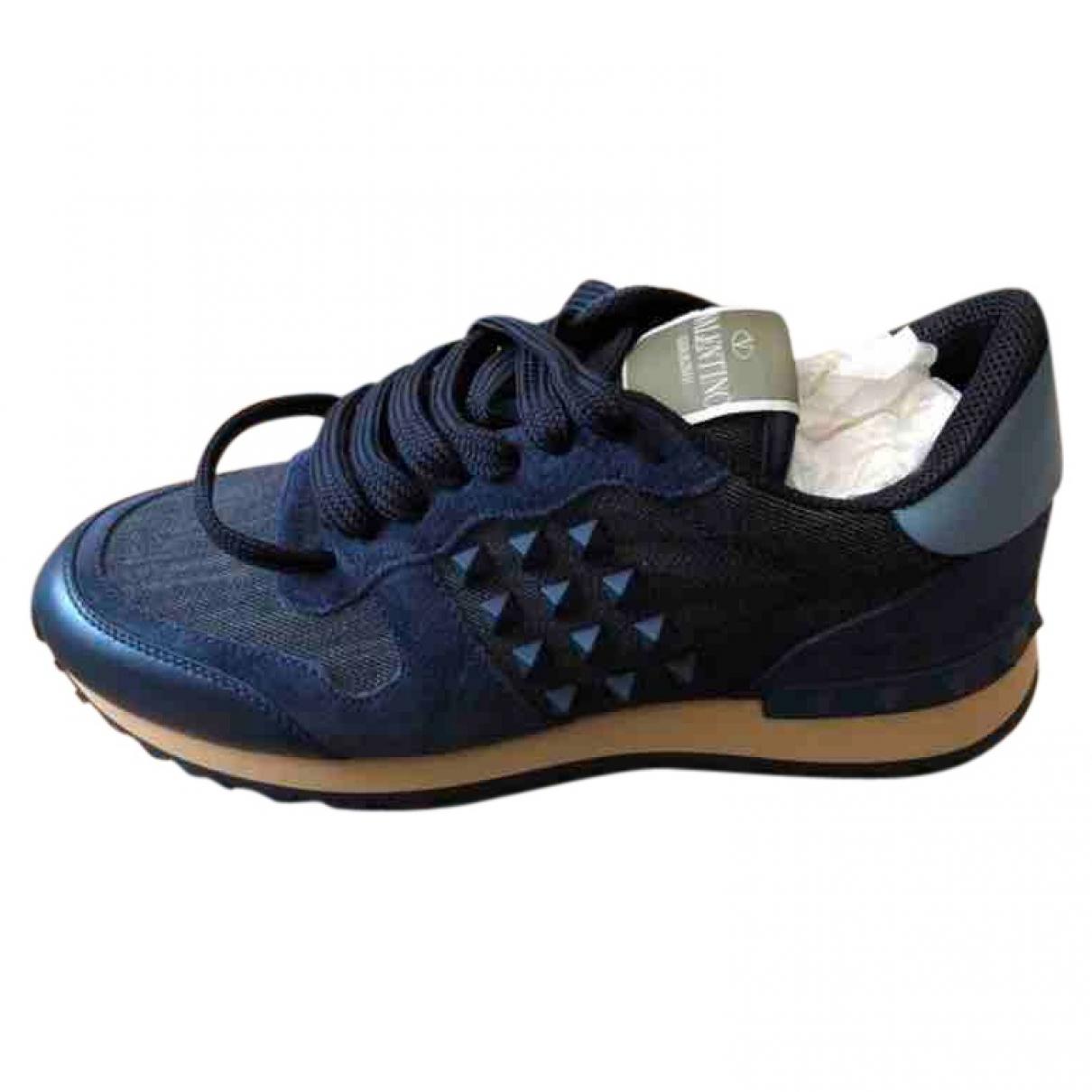 Valentino Garavani - Baskets Rockrunner pour femme en toile - bleu