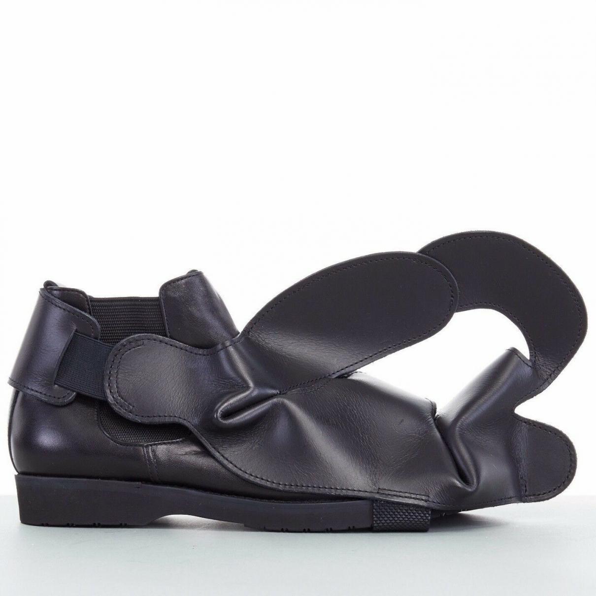 Comme Des Garcons \N Black Leather Flats for Women 34 EU