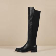 Round Toe Block Heeled Knee Boots