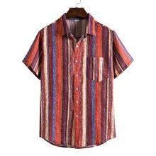 Men Button Front Striped Print Shirt