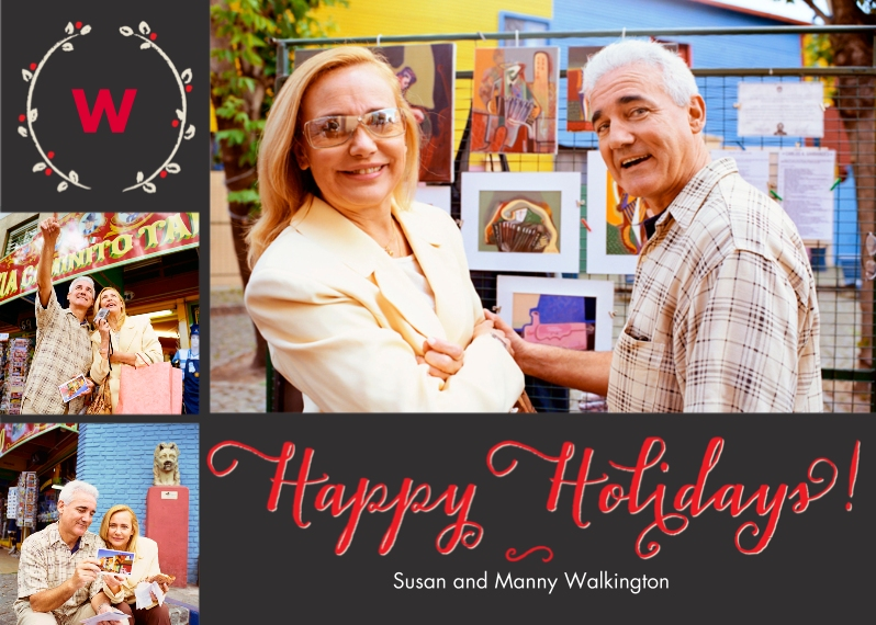 Holiday Photo Cards 5x7 Cards, Premium Cardstock 120lb with Rounded Corners, Card & Stationery -Holiday Wreath