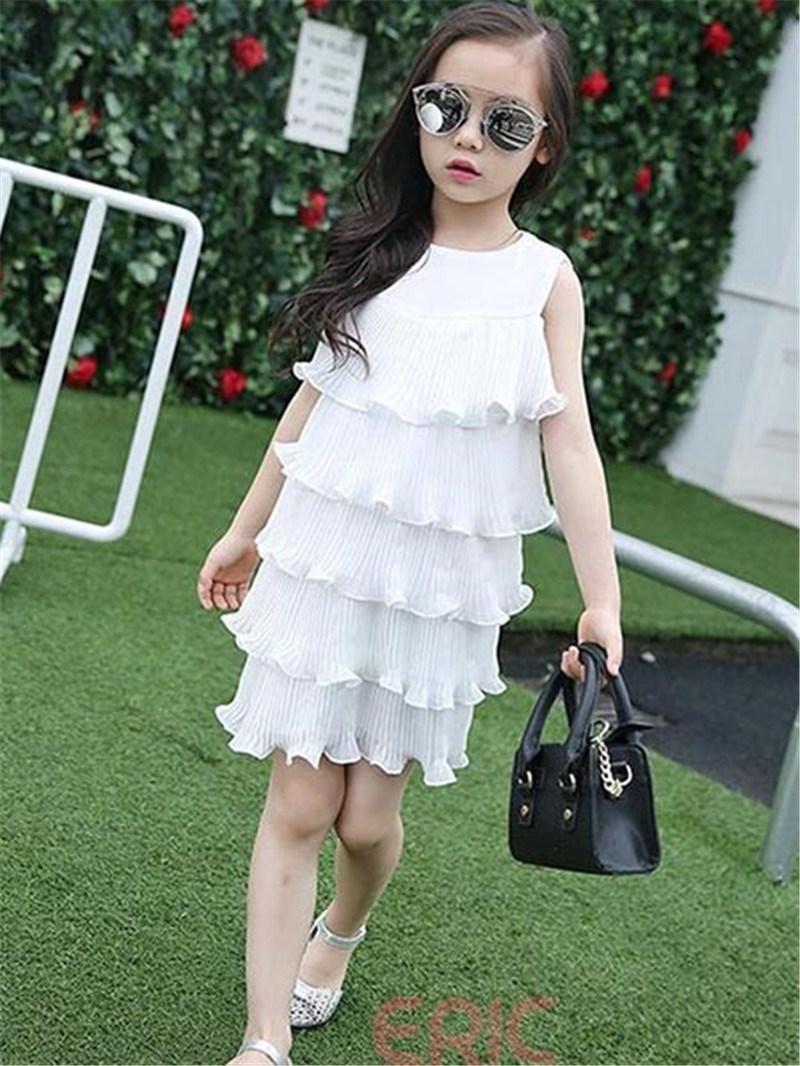 Ericdress Solid Color Falbala Sleeveless Girls Dress