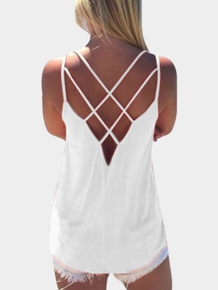 Yoins White Cross Front Top