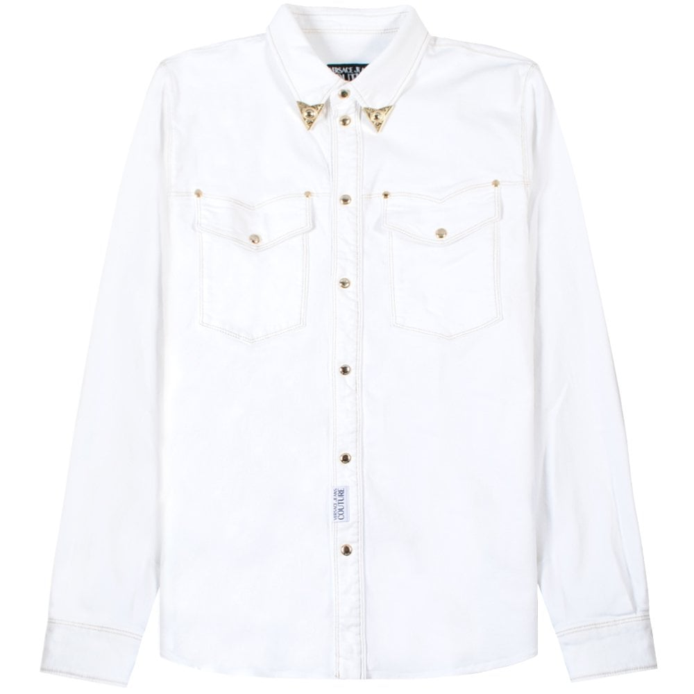 Versace Jeans Couture White Denim Jacket Colour: WHITE, Size: EXTRA LARGE