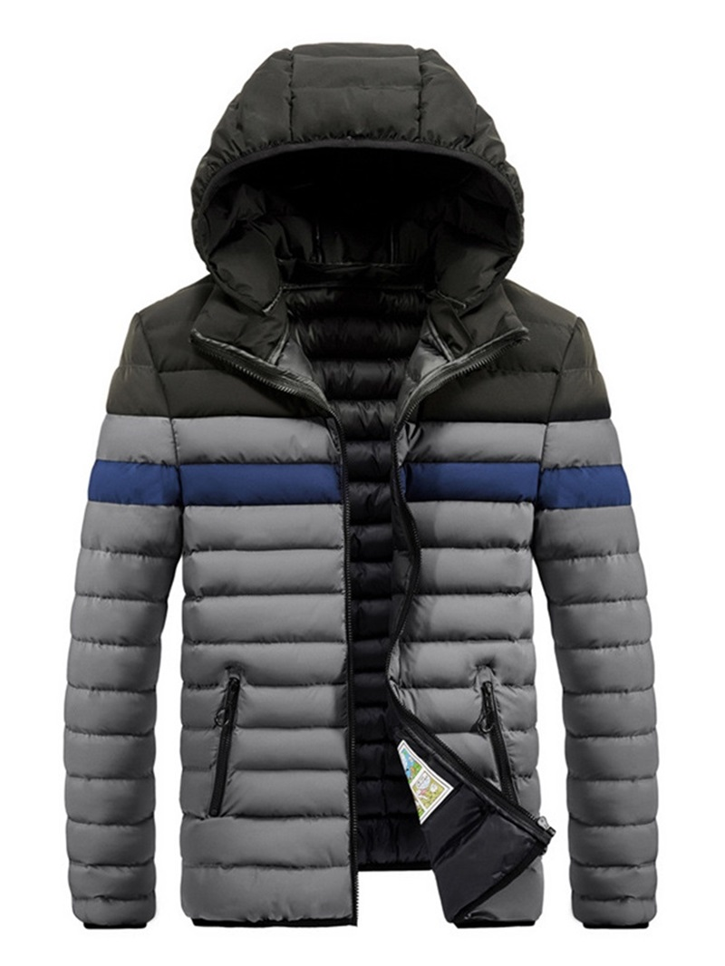 Ericdress Patchwork Color Block Casual Zipper Style Men's Down Jacket