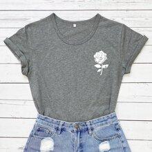 T-Shirt mit Blumen Muster und rundem Kragen