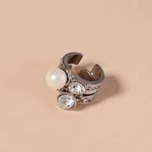 2 Stuecke Ring mit Kunstperlen Dekor