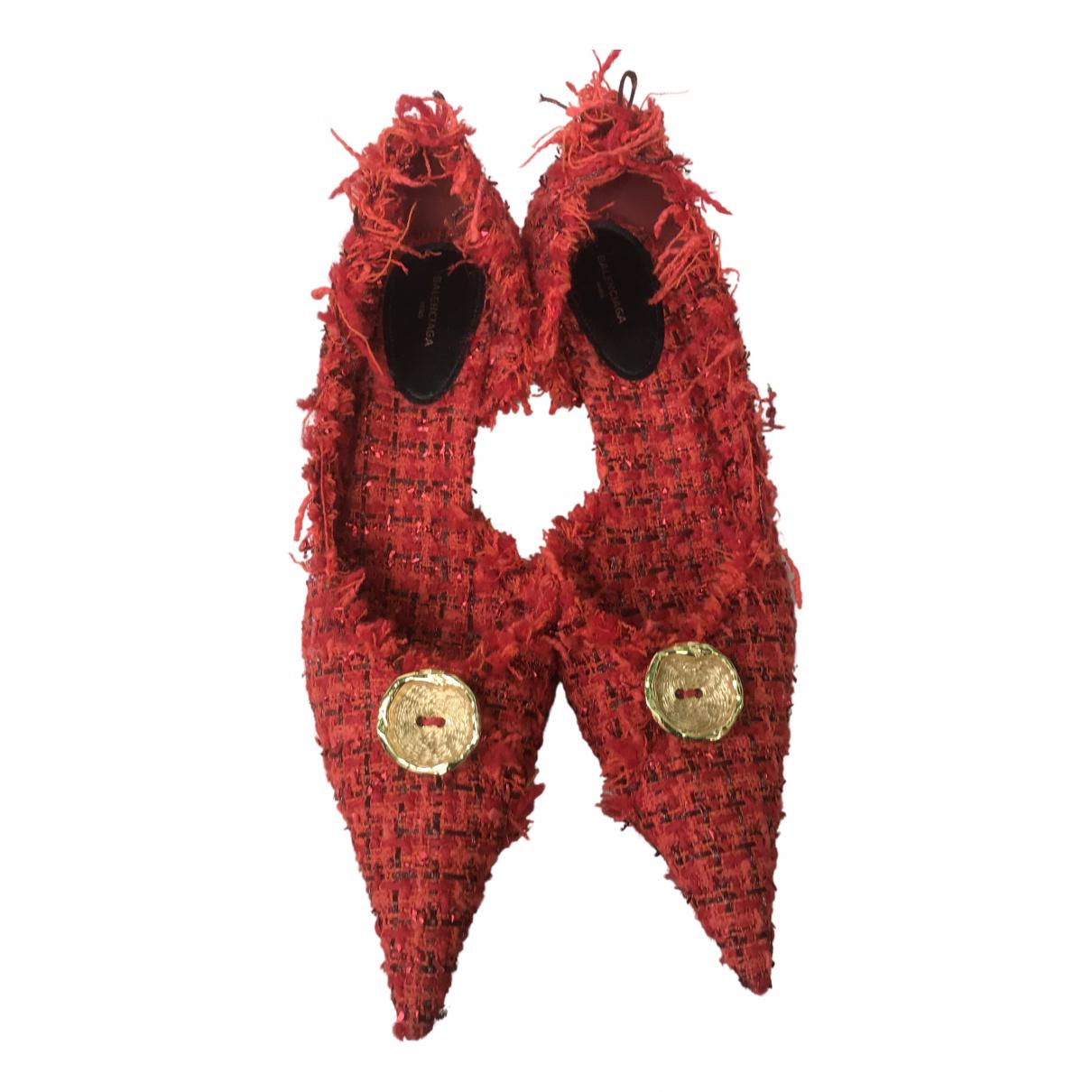 Balenciaga Knife Red Tweed Heels for Women 41 IT