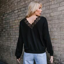 Lace Trim Backless Solid Pullover