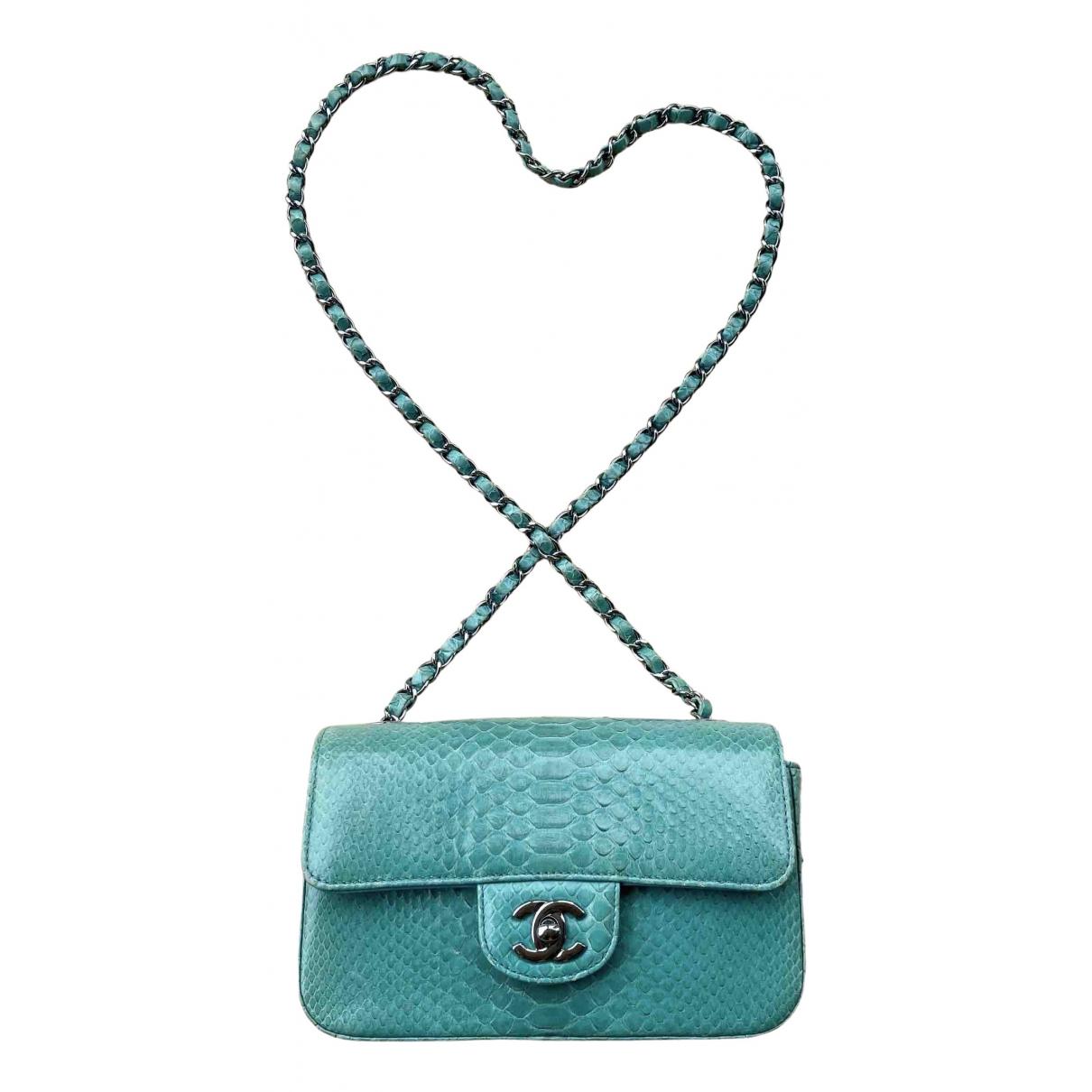 Chanel Timeless/Classique Turquoise Python handbag for Women \N