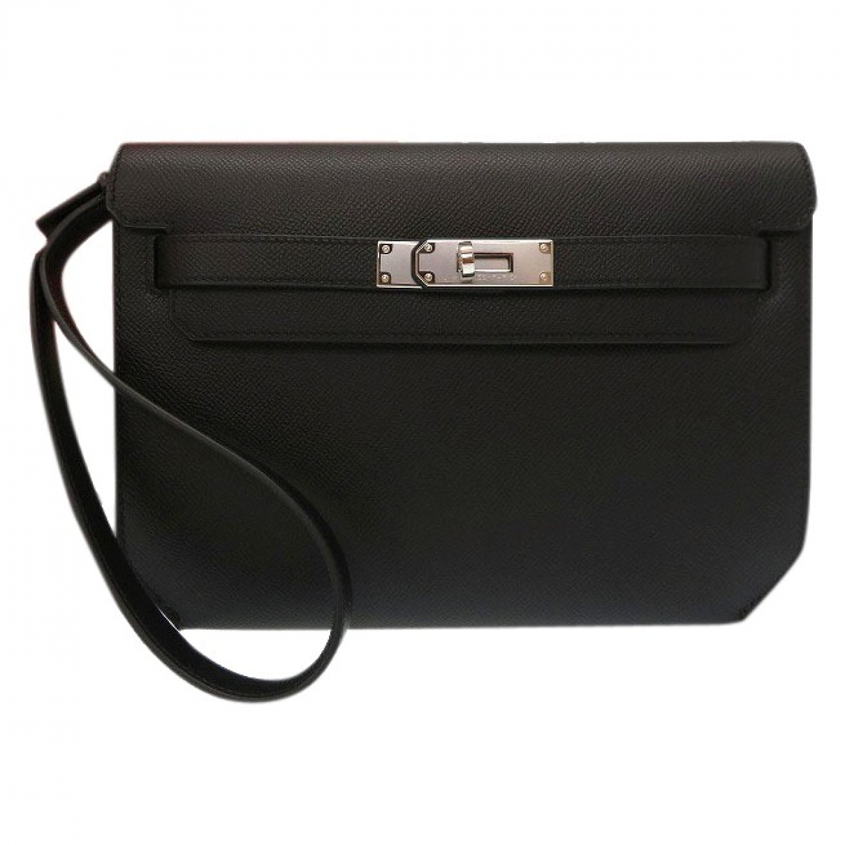 Hermes Kelly Depeches Clutch in  Schwarz Leder