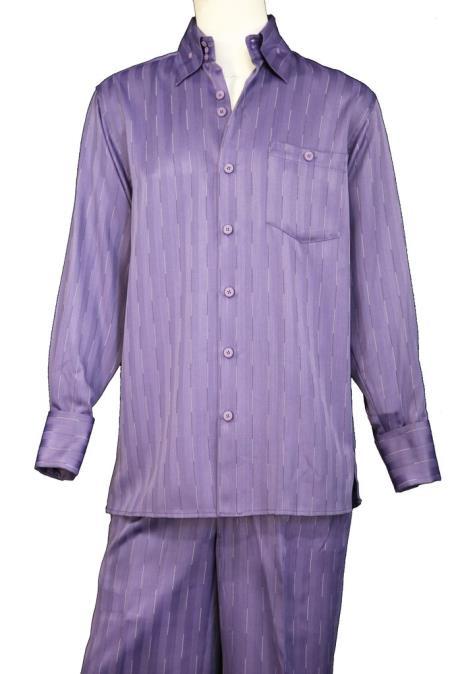 Mens Laser Stripe Long Point Collar Walking Suit