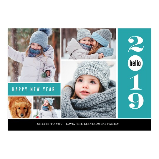 20 Pack of Gartner Studios® Personalized Happy Hello Flat New Year Photo Card in Aqua Blue | 5