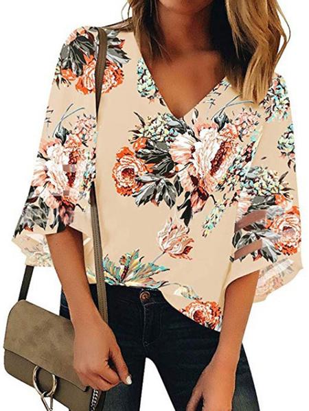 Yoins Patchwork Design Random Floral Print V-neck Half Sleeves Blouse