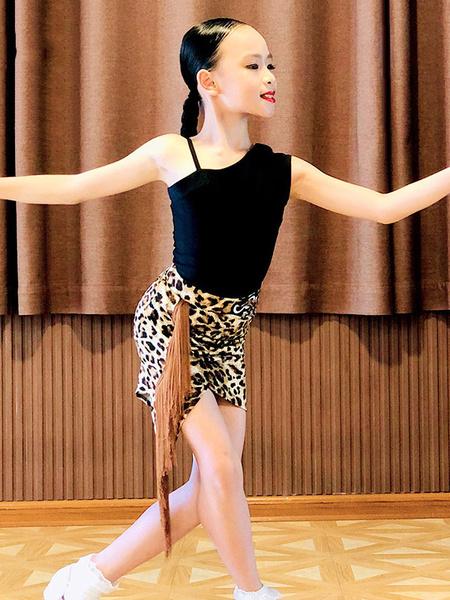 Milanoo Kids Latin Dance Costume Girls Black Set Lycra Spandex SkirtTop Dancing Wear