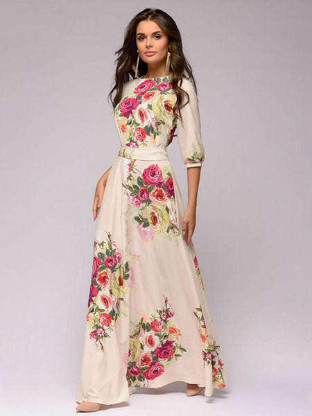 Milanoo Vestido largo marfil  Moda Mujer con 1/2 manga de poliester Vestidos con lazo con estampado con escote redondo estilo moderno Primavera Verano