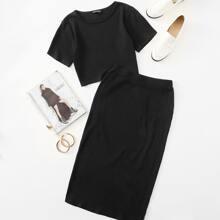 Solid Crop Top & Pencil Skirt Set