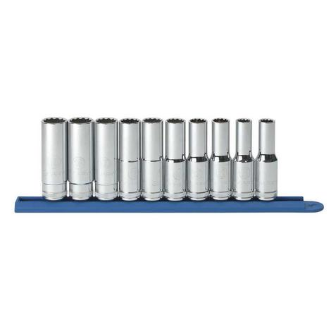 GearWrench Socket Set, 1/2 In. Drive 12 Point Deep Metric, 10 Pc.