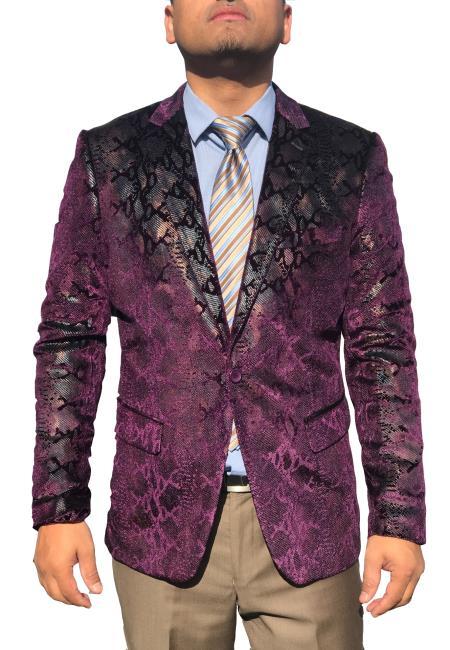 Mens Sequin ~ Shiny ~ Paisley Sport Coat Fashion Blazer Purple