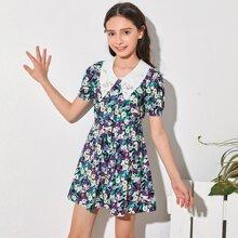 Girls Contrast Schiffy Peter-pan-collar Puff Sleeve Flare Shirt Dress
