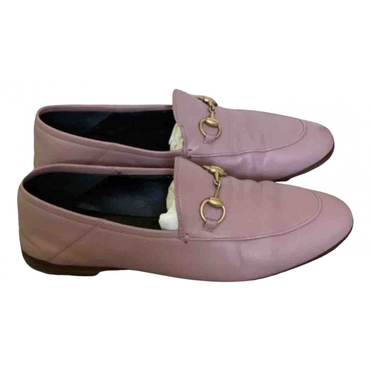 Gucci Brixton Pink Leather Flats for Women 37 EU