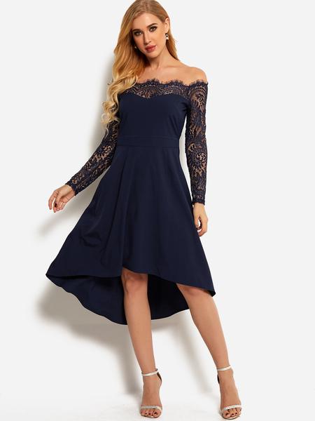 Yoins Navy Lace Insert Off Shoulder Long Sleeves Irregular Dress