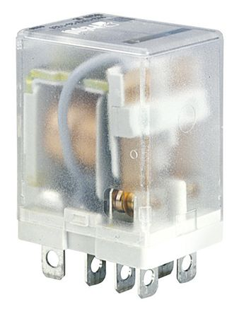Relpol , 24V ac Coil Non-Latching Relay DPDT, 12A Switching Current Plug In, 2 Pole