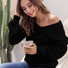 V-neck Drop Shoulder Sweater