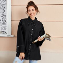 Peak Collar Buttoned Front Contrast Stitch Blouse
