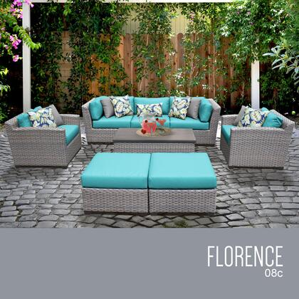 FLORENCE-08c-ARUBA Florence 8 Piece Outdoor Wicker Patio Furniture Set 08c with 2 Covers: Grey and