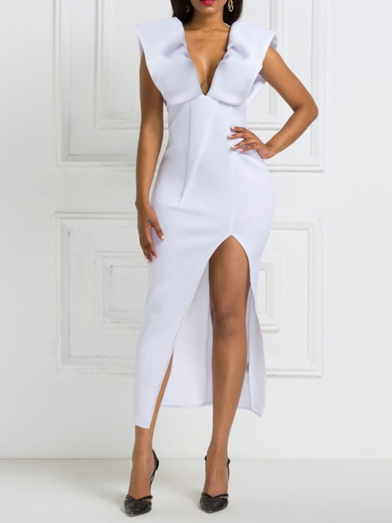 Ericdress Mid-Calf V-Neck Cap Sleeve Women's Plain Dress