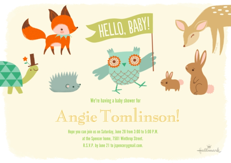 Baby Shower Invitations 5x7 Cards, Premium Cardstock 120lb with Elegant Corners, Card & Stationery -Hello Baby Critters