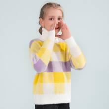 Flaumiger Pullover mit gerolltem Kragen und Karo Muster