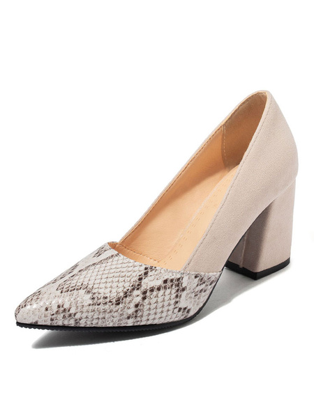Milanoo Women's High Heels Pointed Toe Snake print Chunky Heel Pumps Plus Size Shoes