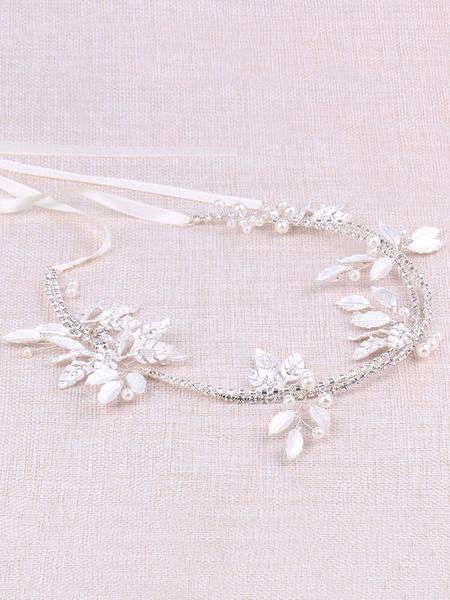 Milanoo Wedding Head Band Pearl Rhinestone Beading Floral Leaf Silver Bridal Headpiece