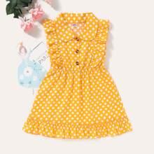 Toddler Girls Polka Dot Ruffle Trim Shirt Dress