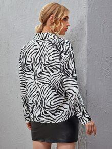 Drop Shoulder Zebra Stripe Blouse