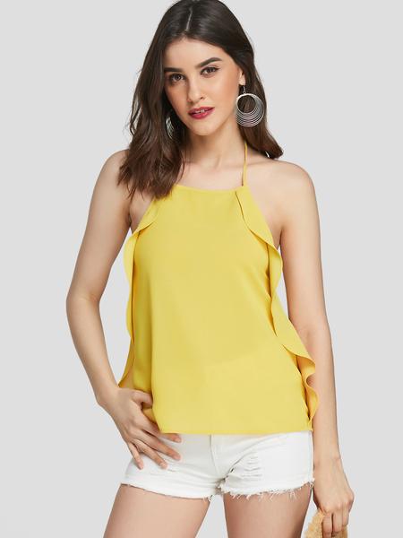 YOINS Yellow Backless Design Plain Halter Sleeveless Camis