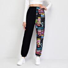 Hose mit Buchstaben und Pop Art Muster