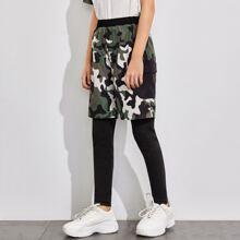 Leggings Shorts mit Taschen Klappe und Camo Muster