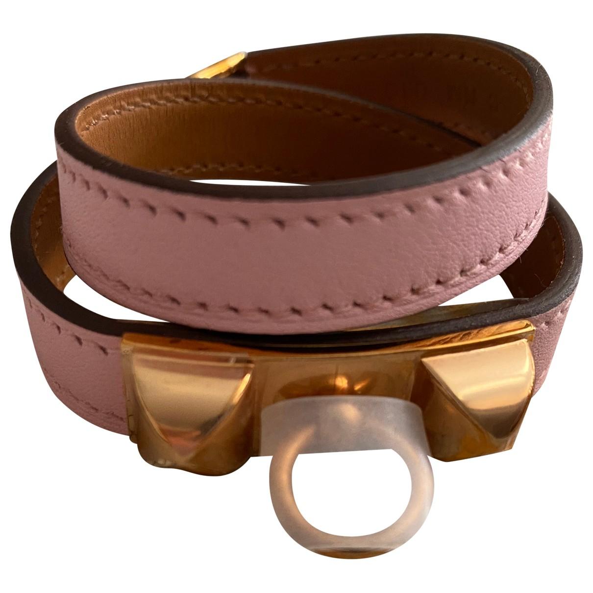 Hermes - Bracelet Kelly Double Tour pour femme en cuir - rose
