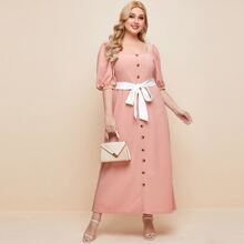 Plus Button Front Puff Sleeve Belted Dress