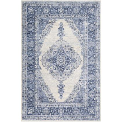 Indigo IGO-2305 67 x 9 Rectangle Traditional Rug in Navy  Bright Blue  Medium Gray