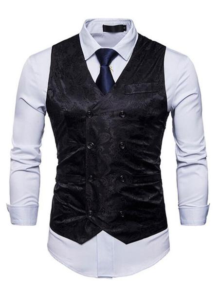 Milanoo Men Suit Vest Jacquard V Neck Double Breasted 1920s Waistcoat