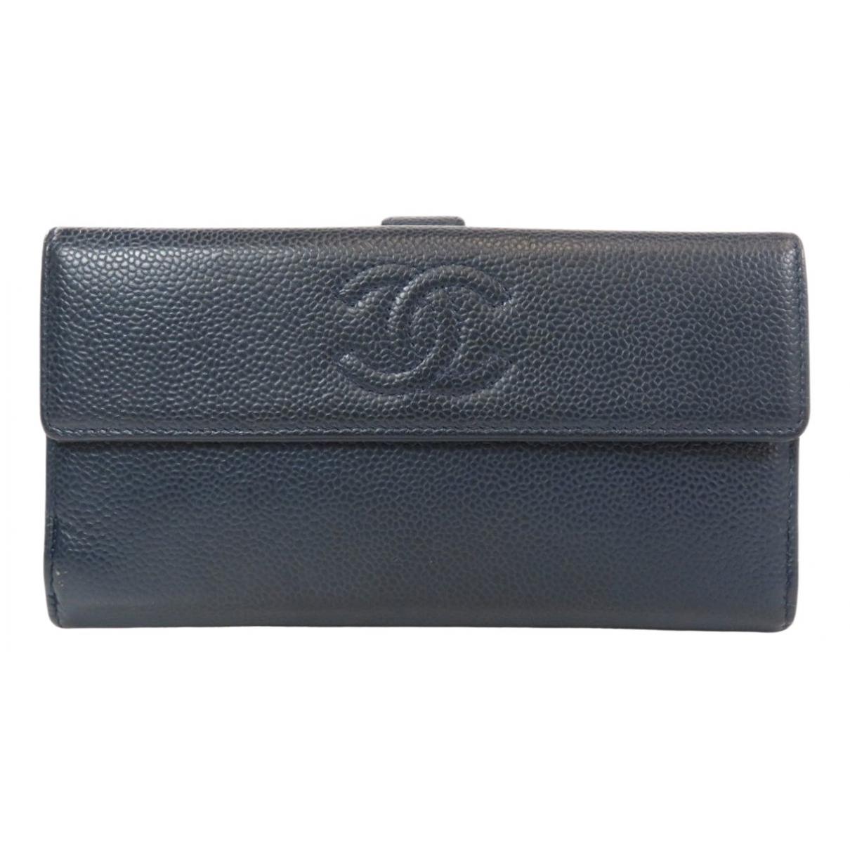 Chanel \N Portemonnaie in  Marine Leder