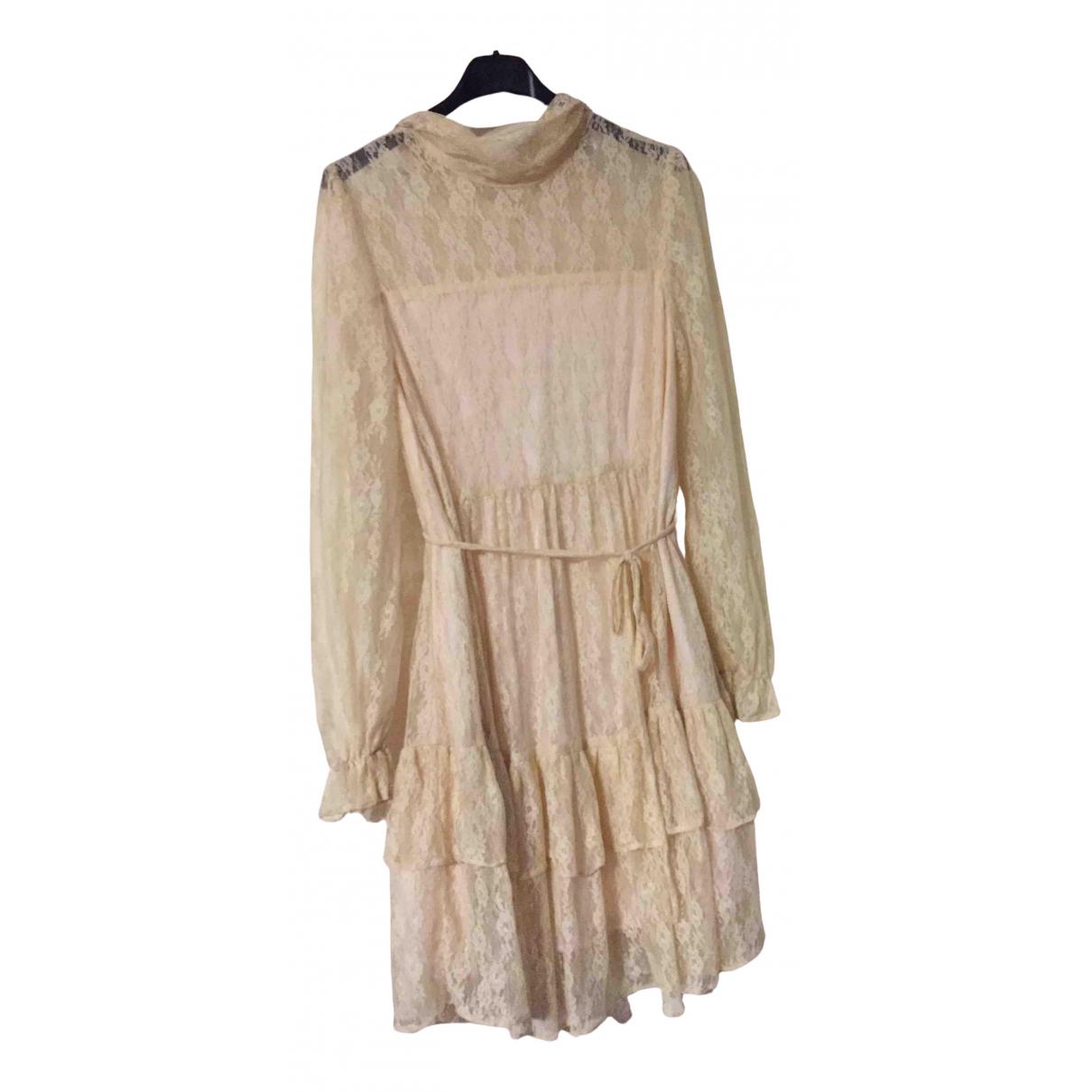 Hermes \N Kleid in  Beige Seide