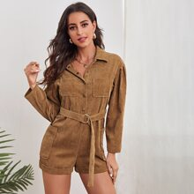 Button Front Belted Corduroy Romper